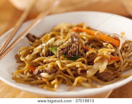Chinese food - Beef lo mein closeup