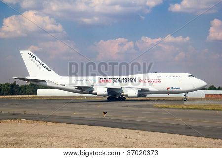 JOHANNESBURG - APRIL 18:Boeing 747 Kenya Airways preparing for take off on April 18, 2012 in Johannesburg, South Africa. Johannesburg Tambo airport is the busiest airport in Africa