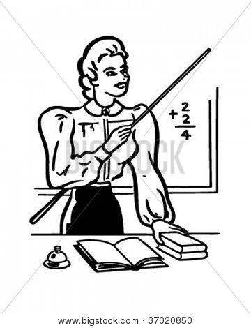 School Teacher - Retro Clipart Illustration
