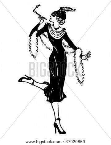 Stylish Thirties Gal - Retro Clipart Illustration