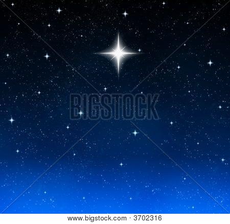 Bright Star In Night Sky