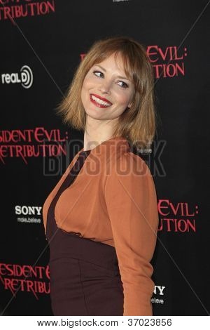 LOS ANGELES - SEP 12: Sienna Guillory at the LA premiere of 'Resident Evil: Retribution' at Regal Cinemas L.A. Live on September 12, 2012 in Los Angeles, California