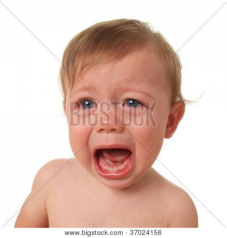 Crying baby boy, studio isolated on white.