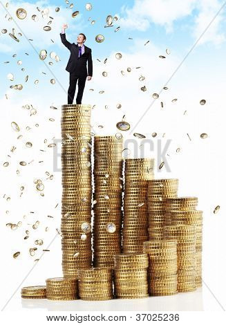 man on top of euro coin piles