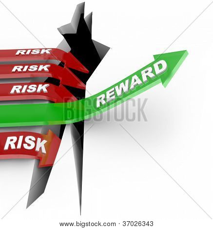 The word Reward on an arrow rising over a hole while others with Risk words fall into the pit to illustrate loss from a bad investment