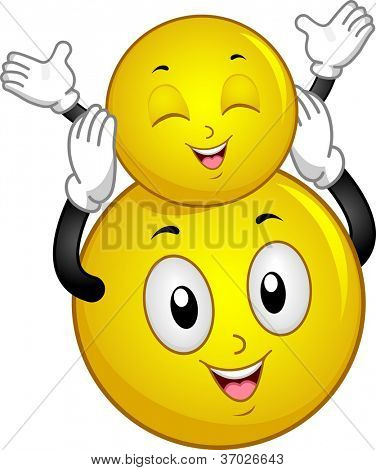 Illustration of a Big Smiley Holding a Smaller Smiley Up in the Air