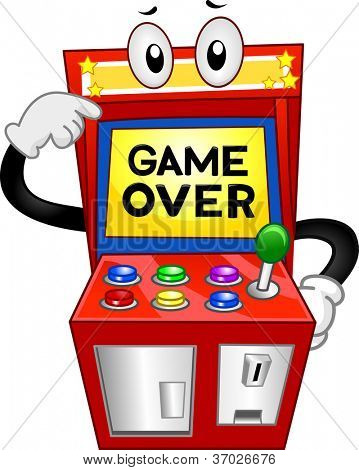 Illustration of an Arcade Machine with the Words Game Over Displayed on its Monitor