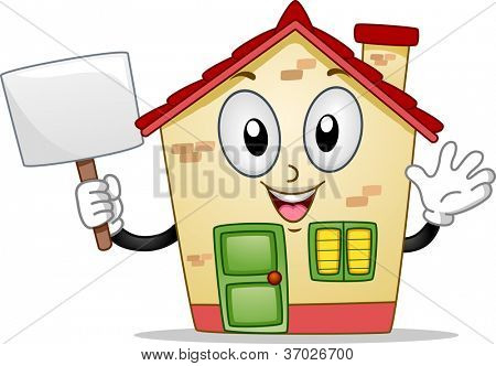 Mascot Illustration of a House Holding a Blank Board