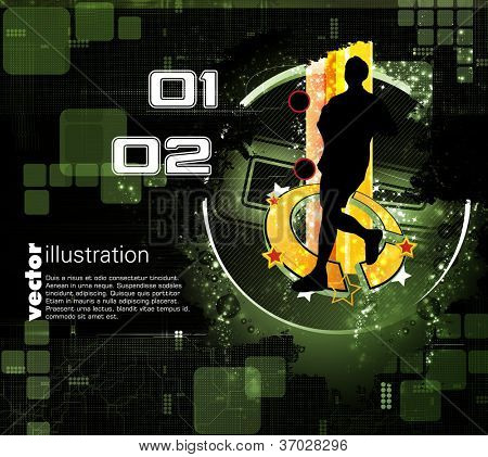 Runner. Poster with technical background