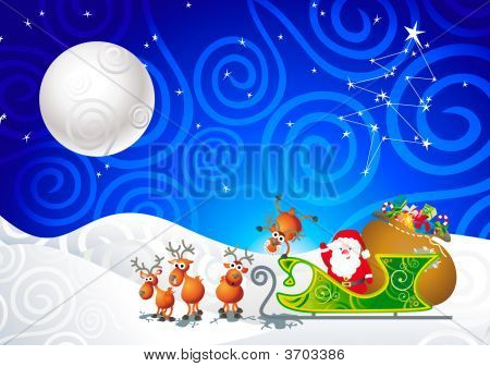Santa, His Sleigh And His Reindeer