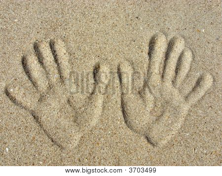 Handprints On A Sand.