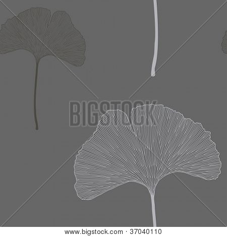 Ginko leaves floral ornament. Seamless interior wallpaper (Ginkgo Biloba leaves)