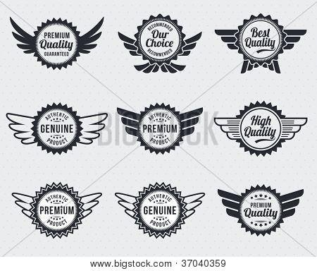 Quality premium label badges - retro vintage style