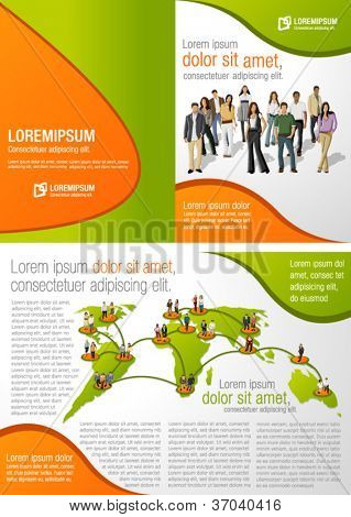 Green template for advertising brochure with connected people over earth globe. Social network.