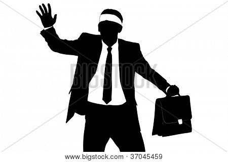 A silhouette of a confused blindfold businessman isolated on white background