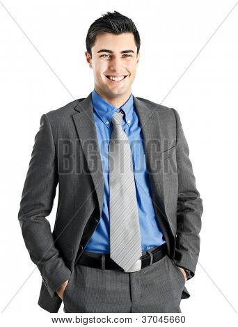 Very handsome businessman with beautiful blue eyes isolated on white