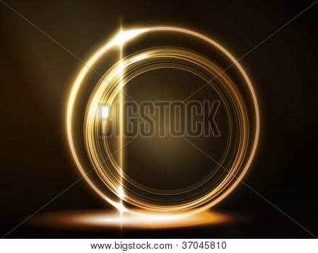 Overlying semitransparent circles with light effects form a golden glowing round frame on dark brown background. Space for your message.