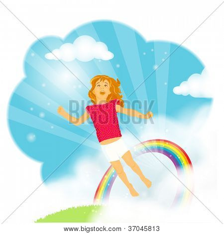 Beautiful little girl with long hair flying from the grass trough a rainbow into the blue sky in amazement, wonder and excitement, celebrating live and imagination.