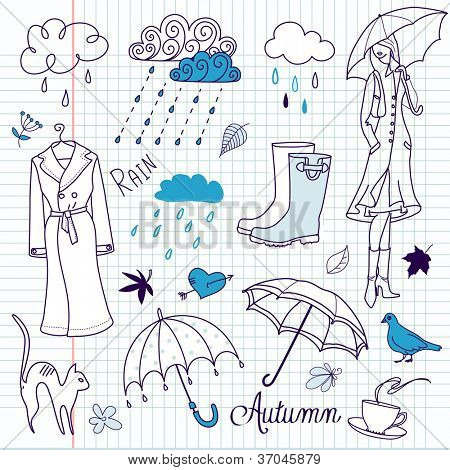 Rainy autumn days doodles