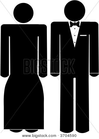 Stick Man And Woman In Formal Wear