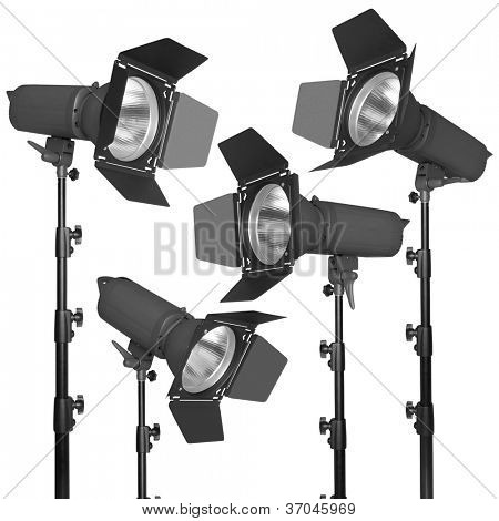 Set of photographic flash or spotlight, isolated on white background