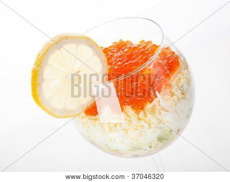 Cocktail salad with caviar