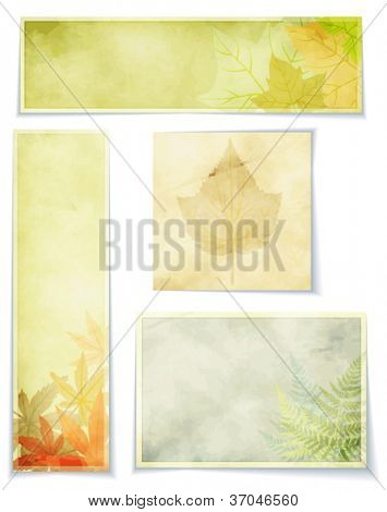 Vintage Botanical Banners, Fall - Autumn themed set of background banners, side bars and tags, in fall colors, with autumn leaves and grass