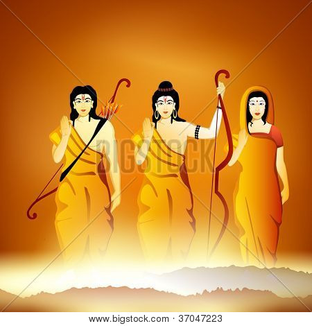 Illustration of Hindu Lord Shri Rama with his wife Mata Sita and brother Laxman on shiny background. EPS 10.