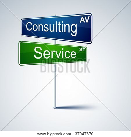 Vector direction road sign with consulting service words.