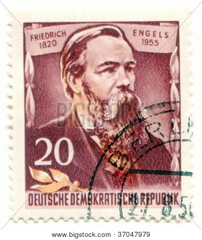 GERMANY - CIRCA 1955: Stamp printed by East Germany, shows Friedrich Engels, circa 1955
