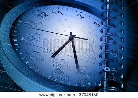 Clock face and calendar page