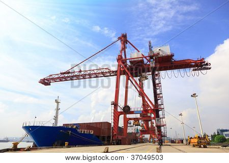 Moored container ship and gantry crane loading cargo in Mawei harbor,Fuzhou,China