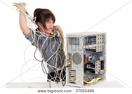business woman going insane with damaged computer