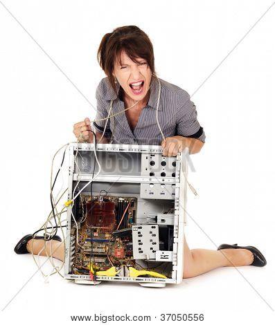 displeased woman yelling on broken computer