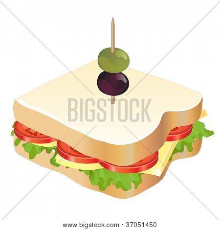 Ein Käse und Tomaten-Sandwich, isolated on white Background. Auch im Vektorformat verfügbar.