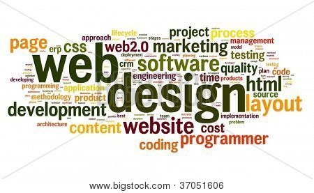 Web design concept in word tag cloud on white background