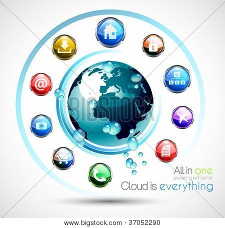 Cloud Computing conceptual image poster with a lot of themed icons like network, camera, home, downloads, files and so on. Ideal for technology abstract covers.