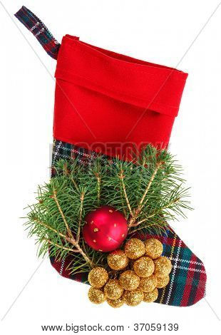 Christmas checkered stocking with fir branch, isolated on white