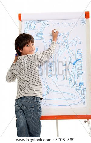 Talented little boy drawing