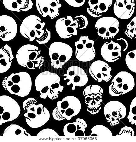Skulls in Black Background Seamless Pattern