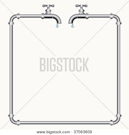 vector illustration with two faucets and pipes