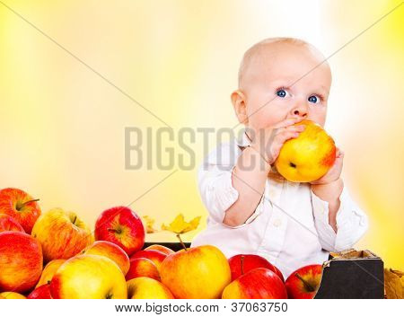 Toddler boy in white clothing eating red autumnal apples