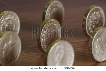 Coins On Wood