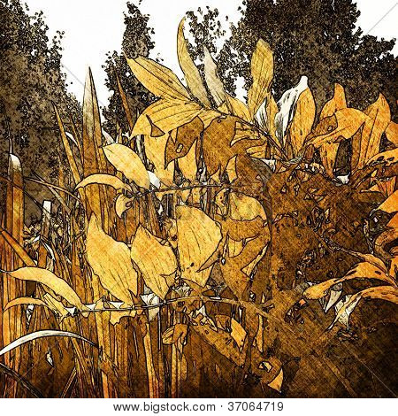 art leaves autumn background card in gold