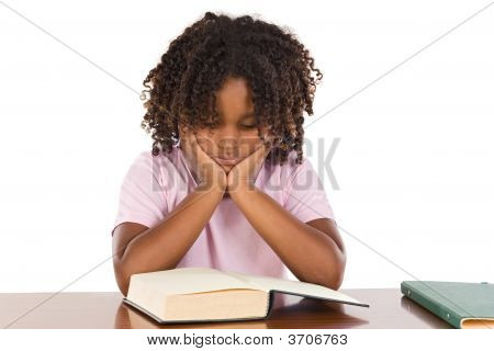 Adorable African Girl Reading