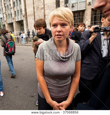 MOSCOW - 15 SEPTEMBER: One of the opposition leader Yevgeniya Chirikova speaks at a anti-Putin protest rally in central Moscow, on September 15, 2012 in Moscow.