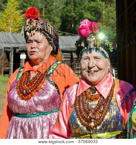 ULAN-UDE, RUSSIA - SEPTEMBER 13: Unidentified woman in traditional costume Christian Believers. Costume show for the guests of  Baikal Economic Forum, September 13, 2012 in Ulan-Ude, Buryatia, Russia