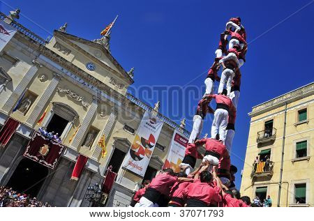 TARRAGONA, SPAIN - SEP 16: Castells on Sep 16, 2012 in Tarragona, Spain. Every year, during Santa Tecla festival, those typical catalan human towers are performed in Plaza de la Font