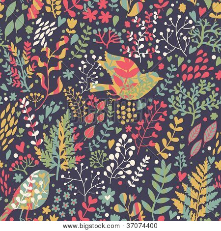 Bright seamless pattern in retro style. Birds in leafs � freedom concept
