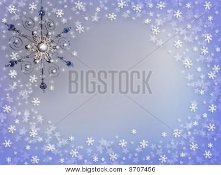 Christmas Silver Ornament And Snow Background